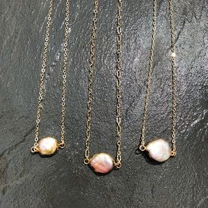 Baroque 18K dainty white pearl necklace